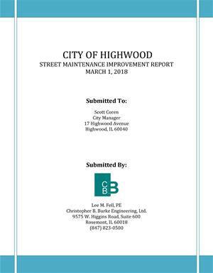 Street Maintenance Report Cover