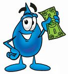 0025-0803-0518-0462_clip_art_graphic_of_a_blue_waterdrop_or_tear_character_holding_a_dollar_bill